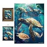 3D LiveLife Lenticular Cuadros Decoración - Tortugas marinas de Deluxebase. Poster 3D sin marco del océano. Obra de arte original con licencia del reconocido artista, David Penfound