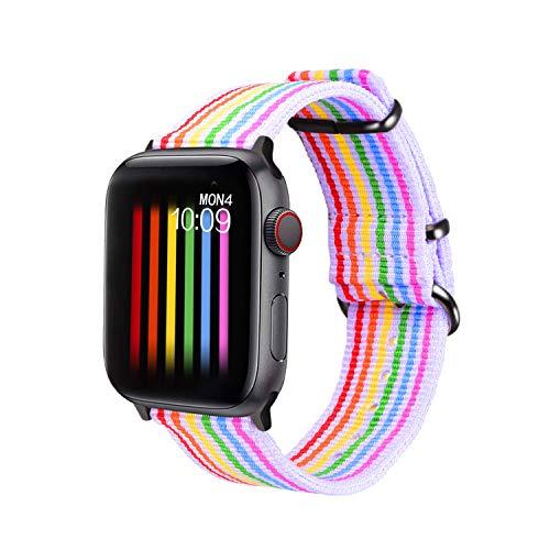 bandmax Armband kompatibele für Apple Watch 42mm/44mm, LGBT Regenbogen Uhrenarmband Nylon Gewebe Gurt Ersatzarmband mit schwarz Schnalle Accessoire für Apple Watch Series 5/4/3/2/1