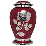 Ansons Urns Silver Rose Cremation Urn - Funeral Urn with Large Flower on Red Enamel - Burial Urn for Human Ashes Adult Size - 100% Brass