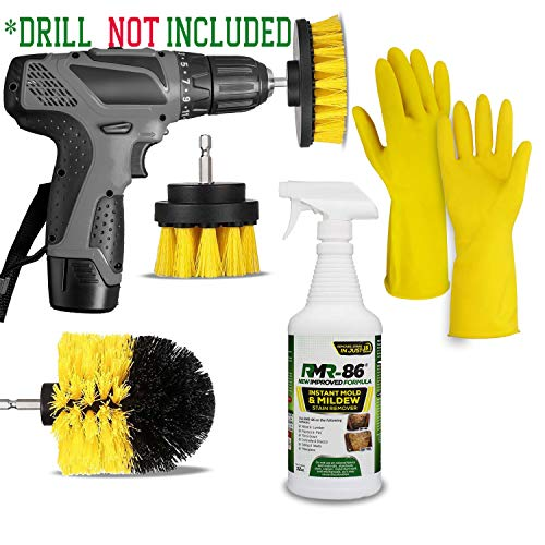 RMR Brands 86 Black Mold Stain and Mildew Stain Remover Kit: RMR86 Bathroom Anti Mold Spray Cleaner (32 Oz) + Drill Brush Power Scrubber Attachment Scrub Brushes Set + HeroFiber Rubber Gloves