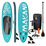 Ecd germany tabla hinchable makani paddle surf/sup 320 x 82 x 15 cm turquesa stand up paddle board pvc/eva hasta 150kg 3 antideslizantes diferentes modelos incluye paleta aluminio bomba y accesorios