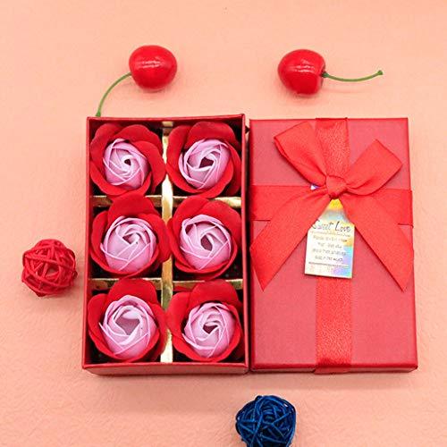 ELECTRI 6 Pcs Floral Parfumée Savon De Bain Rose Pétales De Fleurs Plante Huile Essentielle Savon Ensemblede Bain en Forme Cadeaux De Fête De Mariag Blanc