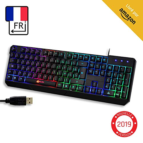 KLIM Chroma Clavier Gamer AZERTY FR + Durable, Ergonomique, Discret, Waterproof, Touches Silencieuses, USB +...