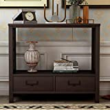SIRUITON Console Sofa Table with Two Bottom Drawers, Farmhouse Narrow Sofa Table for Entryway (Espresso)