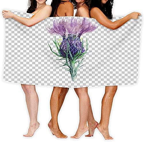 Toalla de baño Impresión de Moda Toalla de baño de Microfibra Senderismo en la Playa Pintura de Fitness Flor de Cardo Mariano Flor de Acuarela Naturaleza Morado escocés Mano celta1