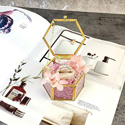 SUNJULY Schmuck Dekorative Box, Elegant Ring Ohrring Box Sechseck konservierte Blume Glaskasten Für Ohrringe, Halsketten, Ringe, Schmuck, 7,8x7,8x4,3cm (Transparent + Gold)