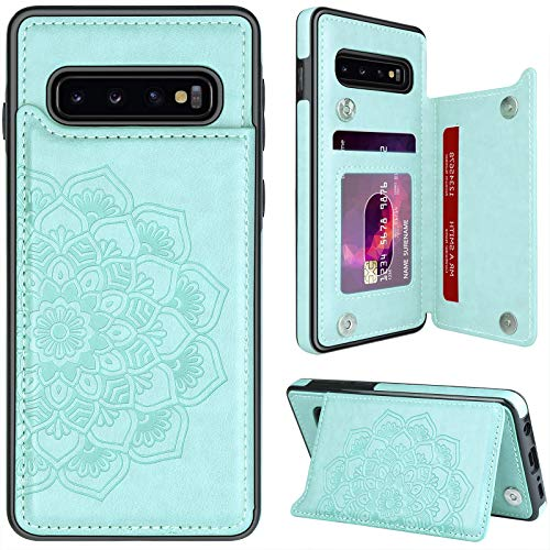 MMHUO for Samsung Galaxy S10 Plus Case with Card Holder,Flower Magnetic Back Flip Case for Samsung Galaxy S10+ Wallet Case for Women,Protective Case Phone Case for Samsung Galaxy S10 Plus,Mint