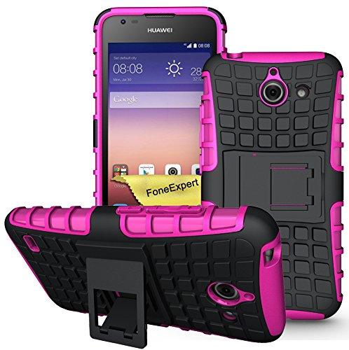 Huawei Ascend Y550 Handy Tasche, FoneExpert® Hülle Abdeckung Cover schutzhülle Tough Strong Rugged Shock Proof Heavy Duty Hülle für Huawei Ascend Y550 + Bildschirmschutzfolie (Rosa)