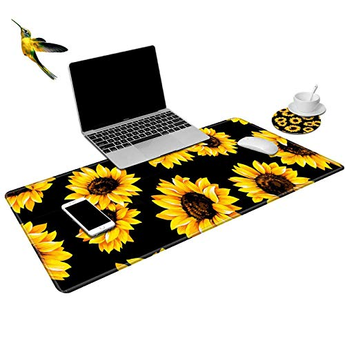 ROSSY Extended Gaming Mouse Pad Desk Mat Keyboard Pad,Black Sunflower Design Large XXL Mousepad (31.5x11.8inch) for Work Gaming Office Home + Coffe Cup Coaster and Cute Stickers