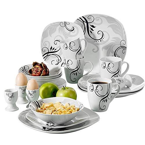 VEWEET Zoey 20pcs Service de Table Pocelaine 4pcs - Assiettes Plates 24,6cm, Assiette à Dessert 19cm, Bols à Céréales 17cm, 360ml Mug Tasse à Thé, Coquetier, pour 4 Personnes Moderne Fleuri