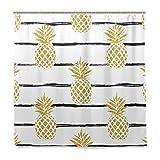BALII-Duschvorhang mit Ananas & Streifen, 183 x 183 cm, Polyester, wasserdicht mit 12 Haken fürs Badezimmer.