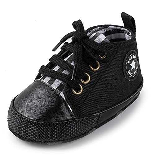 Baby Shoes Boy Girl Star Solid Sneaker Cotton Soft Anti-Slip Sole Newborn Infant First Walkers Toddler Casual Canvas Crib Shoes Comfortable (Baby Age : 13-18 Months, Color : Black-New)