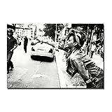 DOAQTE Rihanna Schwarz Weiß Poster Leinwand Wandkunst