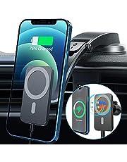 15W Caricatore Wireless Auto Per Iphone 12/12 Pro/12 Mini/12 Pro Max,Caricabatterie Wireless Per Auto Magnetic,Supporto Cellulare Auto Wireless Con Base Della Ventosa e Clip Per Bocchetta Aria