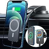 Blsyetec 15W Chargeur sans Fil Voiture Uniquement Compatible avec iPhone 12/12 Mini/12 Pro/12 Pro Max,Chargeur Induction Voiture Magnétique,Support Telephone Voiture Induction avec Clip et Ventouse