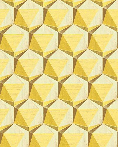 Retro Tapete EDEM 1050-11 Vinyltapete leicht strukturiert mit geometrischen Formen dezent glitzernd elfenbein zitronen-gelb ocker-gelb 5,33 m2