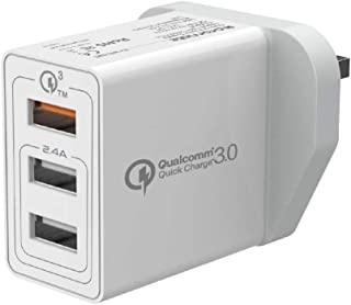 Promate Travel Charger, Premium Portable 30W 3 USB Port Wall Adapter with Fast Charging Qualcomm QC 3.0 and 2.4A Ultra-Fas...