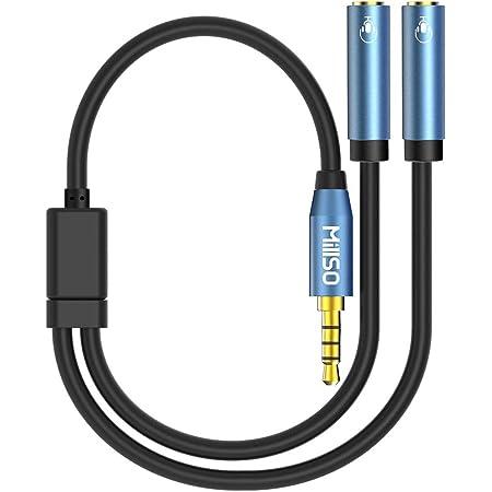 MillSO 4極 2分配ケーブル イヤホンジャック 二股 延長 3.5mm 4極メス x2-4極オス x1 イヤホンマイク機能搭載 4極 分岐 オーディオ分配ケーブル 音声出力分岐コード ステレオミニY分岐ジャックコネクタケーブル 多用型 -30cm