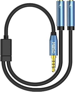MillSO 4極 2分配ケーブル イヤホンジャック 二股 延長 3.5mm 4極メス x2-4極オス x1 イヤホンマイク機能搭載 4極 分岐 オーディオ分配ケーブル 音声出力分岐コード ステレオミニY分岐ジャックコネクタケーブル 多用型 -...