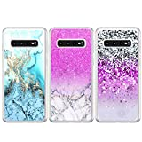 BEAULIFE Case for Samsung Galaxy S10 Plus Painted 3Pcs Series Phone Case Cover Full Body Protective Soft Flexible TPU Case Pink Marble Snow Mountain