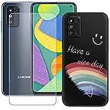 szjckj Funda para Samsung Galaxy F52 5G (6,6 Pulgadas) + Anti-caída Protector de Pantalla, Case Cover Carcasa Bumper Clear TPU Silicone Cristal Vidrio Templado - LLM44