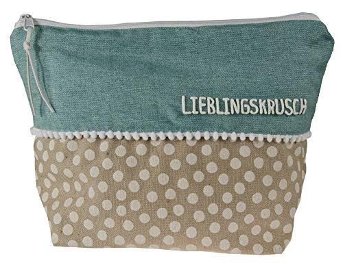 Kulturtasche Beauty Bag mit Namen, Kosmetiktasche, Wachtasche personalisiert, Reisetasche mit Namen, Waschbeutel, Schminktasche personalisiert, Farbe:türkis