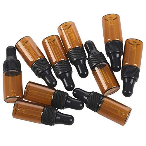 Casinlog 10 unidades de 3 ml botellas vacías de vidrio marrón con cuentagotas para terceros