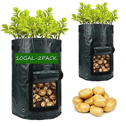 Potato-Grow-Bags,2 Pack 10 Gallon Garden Vegetable Planter with Handles&Access...