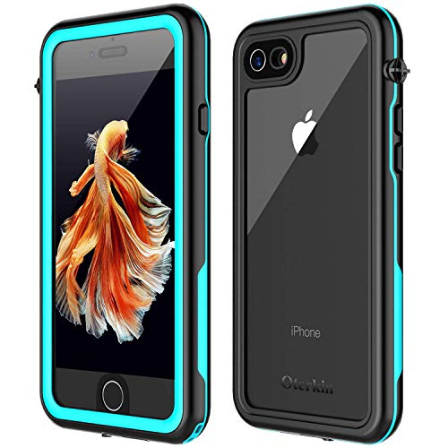 Oterkin iPhone 7/8 Waterproof Case, 2019 All Condition Applicable Full Body Protective Shockproof Sandproof Dirtproof IP68 Underwater Outdoor Waterproof Case for iPhone 7 & iPhone 8(4.7) (Blue/Clear)