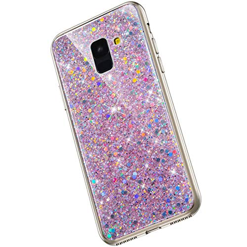 Saceebe Compatible avec Samsung Galaxy A8 2018 Coque Silicone Paillette Strass Brillante Bling Glitter Housse Transparente Gel Silicone TPU Bumper Crystal Clear Housse Etui de Protection,Rose