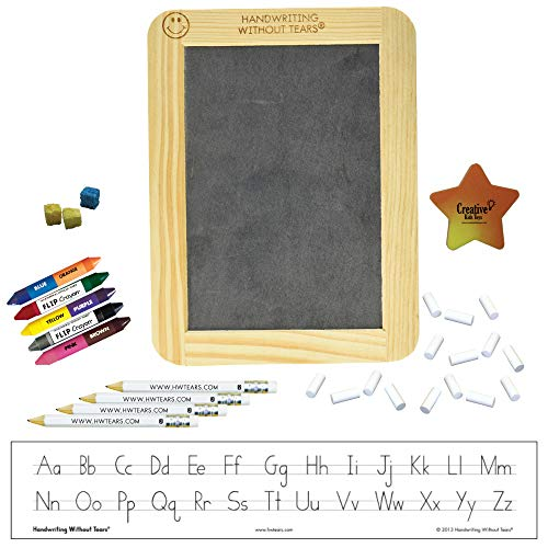 Handwriting without Tears Manuscript Beginner Kit with Slate, Chalk, Pencils, Flip Crayons, Sponge Cubes and Eraser HWOT Supplies Kit (Starter Kit Manuscript)