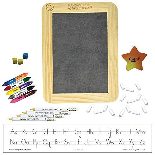 Handwriting without Tears Manuscript Beginner Kit with Slate, Chalk, Pencils, Flip Crayons, Sponge Cubes and Eraser HWOT Supplies Kit (Starter Kit Manuscript)