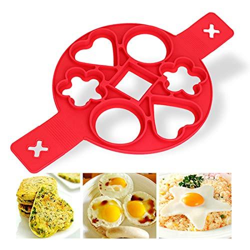 Zaloife Nonstick Silikon Ei Ring Pfannkuchen Form, 7 Löcher Kuchenform Silikon Formen, Wiederverwendbare Rot Non Stick Eierformer, Pancake Backformen Maker (Star Mold)