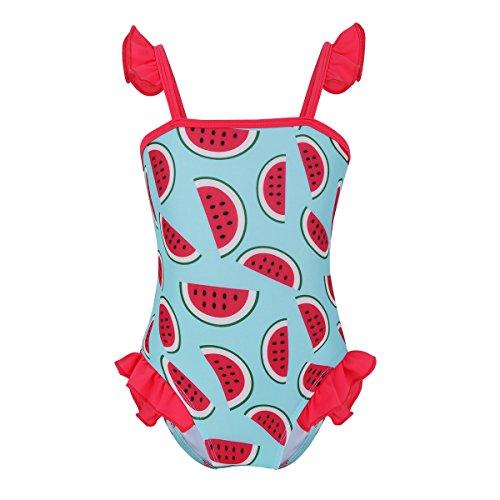 YiZYiF Bébé Fille 1Pcs Maillot de Bain Imprimé Fruit Pastèque Monokini Body de Bain Combinaison Natation Vêtement Plage Bodysuit Costume de Natation Barboteuse 0-24 Mois Rouge & Bleu Ciel 0-3 Mois
