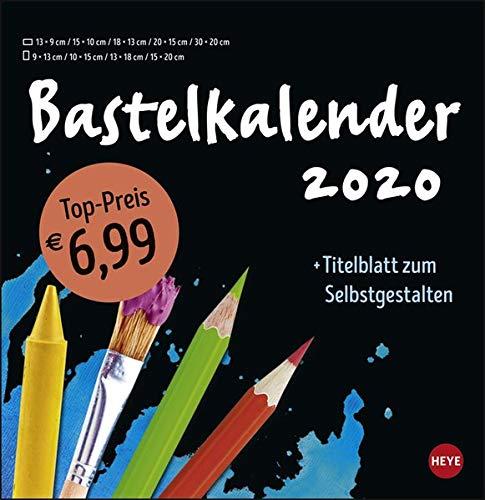 Bastelkalender schwarz groß. Bastelkalender 2020. Monatskalendarium. Spiralbindung. Format 32 x 33 cm