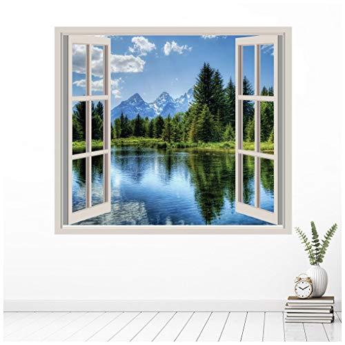 azutura Lago di Montagna 3D Finestra Adesivo Murale Paesaggio forestale Adesivo da Parete Camera da Letto Arredamento Disponibile in 8 Misure XX-Grand
