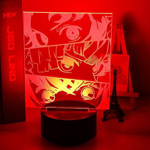 Anime Demon Slayer Face Splice acrílico Led luz nocturna para niños decoración de dormitorio infantil luz nocturna fresca Kimetsu No Yaiba lámpara regalo