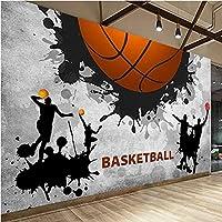 Iusasdz 3D壁紙モダンパーソナリティバスケットボールスポーツ写真壁壁画レストランジム背景壁の装飾3D壁画-200X140Cm