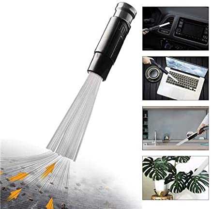 Vacuum Attachment Dust Small Suction Brush Tubes Cleaner Remover Cleaning Brush Tool for Air Vents Keyboards Universal : Grey-Basic