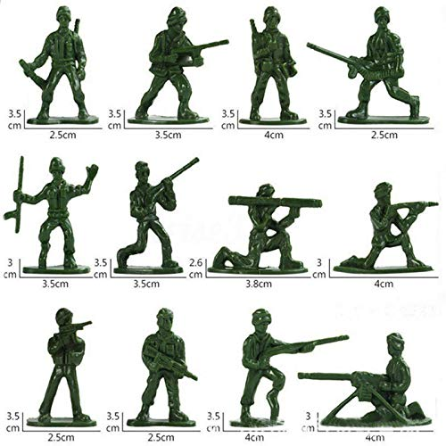 DIGIMALL Plastic Toy Soldiers Tan Figures Kids Playset Children Army 12 Poses 3 Colors