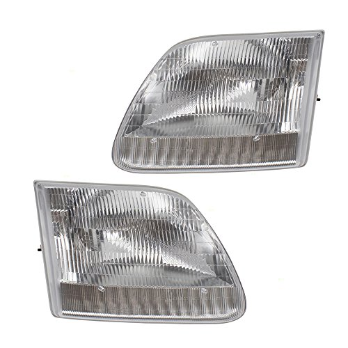 Headlights Headlamps Replacement Pair Set for Ford F-Series Pickup Truck Expedition SUV 3L3Z13008DA 3L3Z13008CA