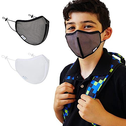 [ADULT SMALL/YOUTH LARGE_ORIGINAL MESH BLACK]Cloud Nano Airflow Breathable Comfortable Adjustable School Mask for Small Adult and Big Youth 12+