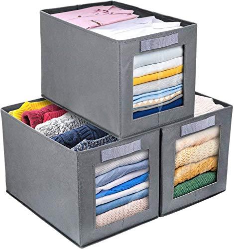 DIMJ Cajas de almacenaje Plegable, Conjunto de 3 Cajas Organizadoras Tela, Cubos de Almacenamiento con Ventana Transparente, Organizadores de Contenedore para Ropa Juguetes Libros (Gris Oscuro)