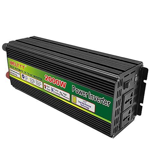 2000W Inversor De La Onda Sinusoidal Pura 12V A 220V Onda Sinusoidal Pura Inversora De Potencia DC,Con Enchufes De Alimentación De CA Duales Y Puertos USB,Adecuados Para Emergencias Del Sistema De RV