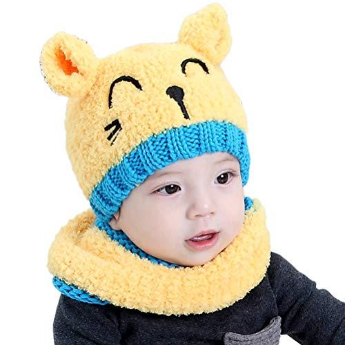 Einsgut kleine kinderen baby gebreide muts sjaal winter warme beanie muts met cirkel lus sjaal handschoenen voor 1-4 jaar baby boy meisje geel