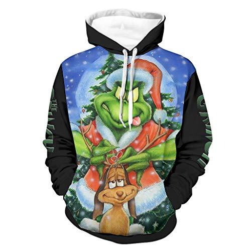 Sudadera con capucha para hombre, diseño vintage de Navidad, con estampado de colores, manga larga, para conducir a lado con bolsillos, ropa interior White3 S