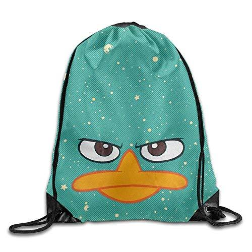 CHSUNHEY Bolsos de Lazo,Mochilas,Perry Platypus - Face Phineas Ferb Cool Eco-Friendly Luggage Drawstring Backpack String Bag