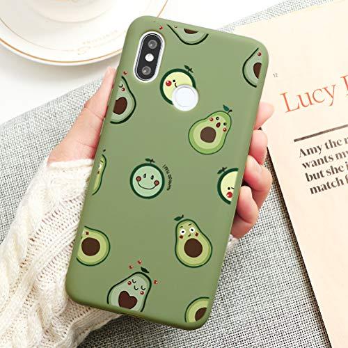Pnakqil Funda Xiaomi Mi 6X / A2 Silicona con Dibujos Suave Carcasa Color Ultra Fina y Ligero Antigolpes Gel TPU Piel Caso Goma Protectora Back Cover para Xiaomi Mi A2 / 6X, Aguacate 03- Verde