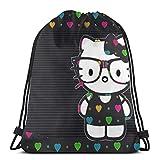 Bolso clásico con cordón Love Hello Kitty Gym Mochila Bolsas de hombro Deporte Bolsa de almacenamiento para hombre y mujer