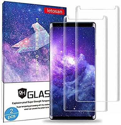 Galaxy Note 9 Screen Protector, [2 Pack] Case Friendly,Bubble-Free,9H Hardness 3D Curved, Scratch-Resistant for Samsung Note9 Tempered Glass Film Screen Protector